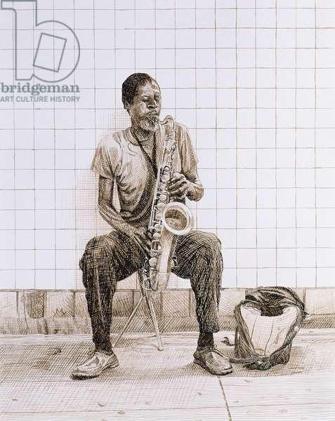 Subway Saxophone, 1998 (ink on paper)