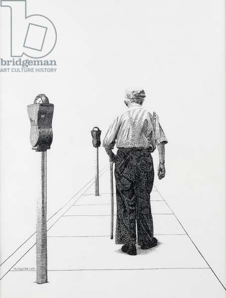 Old Man with a Cane, 1998 (pen and ink on paper)
