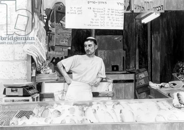 Study for'Fish Vendor' 2003 (oil on canvas) (b/w photo)