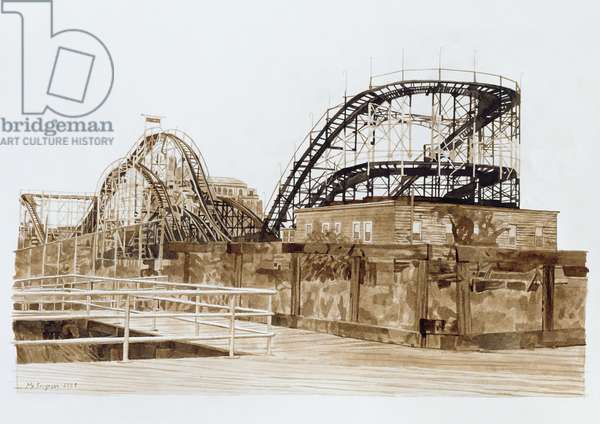 Roller Coaster, Coney Island, 1998 (ink wash on paper)