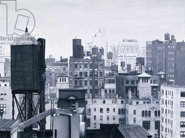 New York Water Towers, 2002 (oil on panel)