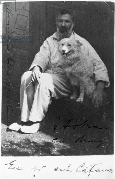 Self portrait with his dog Polaire, c.1930 (vintage gelatin silver print)