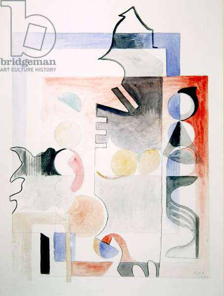Composition, drawing, 1936 (pencil, pen & ink and w/c on paper)
