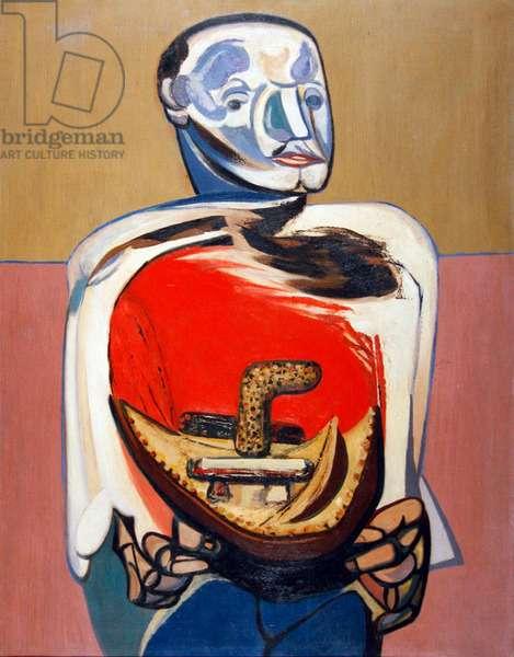Man with donkey saddle, c.1957 (oil on canvas)