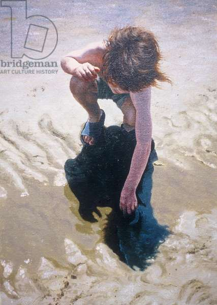 Playing in wet sand