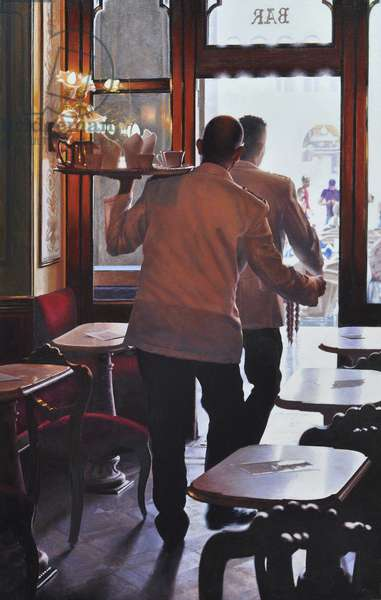 Dancing Waiters, 2019 (oil on linen)
