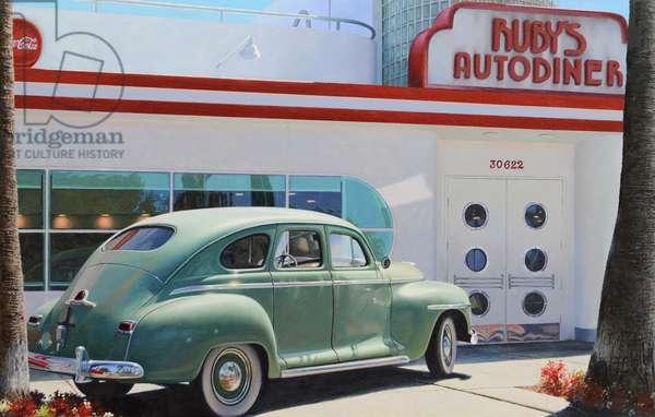 West coast diner (oil on panel)