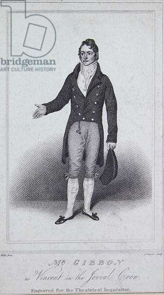 Mr Gibbon as Vincent in 'The Jovial Crew', from the 'Theatrical Inquisitor' (engraving)