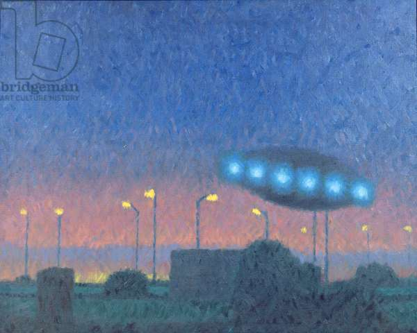 UFO over the City, 1980 (oil on canvas)