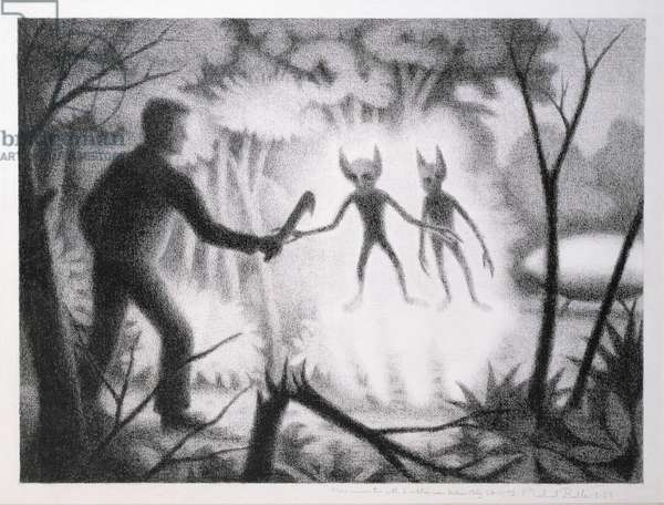 Encounter with aliens near Gallio, Italy in 1978, 1983 (crayon on paper)