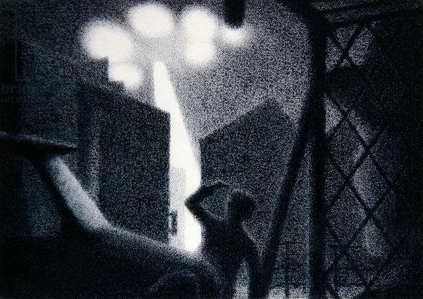 UFO sighting at the Renault Factory, Argentina in 1972, 1981 (crayon on paper)