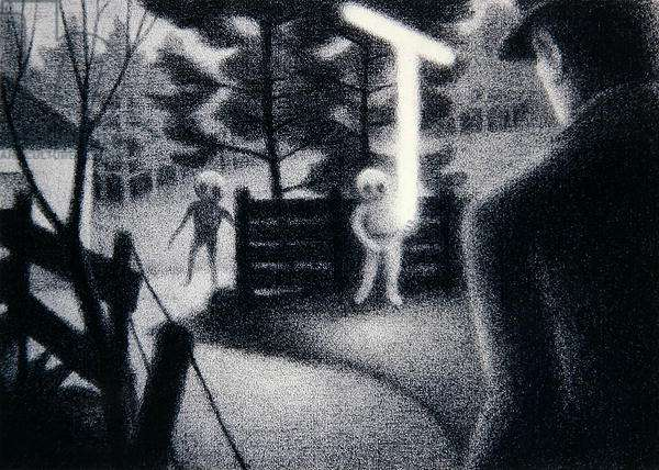 Encounter with Aliens, Indiana, USA in 1983, 1984 (crayon on paper)