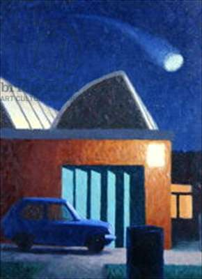 UFO over Factory, 1981 (oil on canvas)