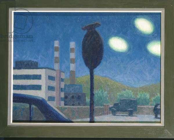 Three UFO'S at Dusk, 1981 (oil on canvas)
