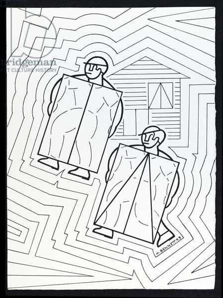 Two masons carrying panels