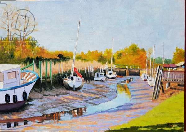 Boats at low tide (oil on canvas)