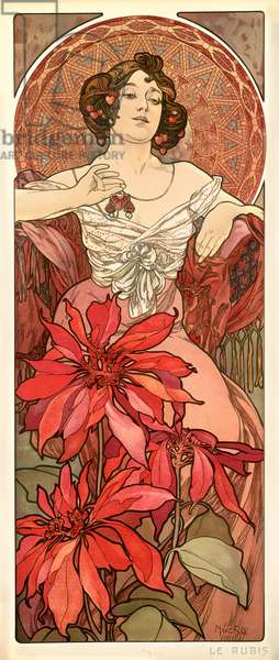The Precious Stones: Ruby, 1900 (colour litho)