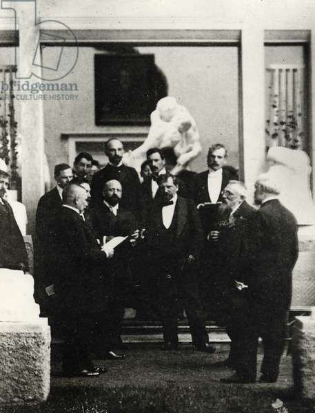 Rodin and Mucha at the Manès pavilion on the occasion of Rodin's exhibition, Prague, May 1902 (b/w photo)