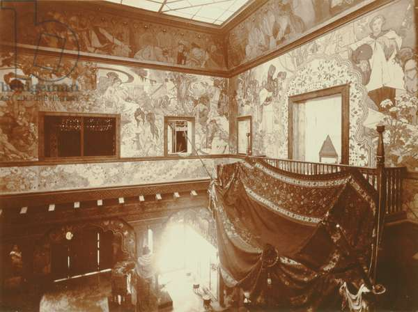 Interior of the Bosnia - Herzegovina Pavilion at the 1900 Paris Exhibition showing walls with Mucha's paintings, 1900 (b/w photo)