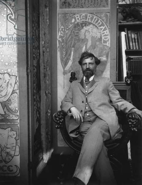 Alphonse Mucha (1860-1939) in his Studio, c.1898 (b/w photo)