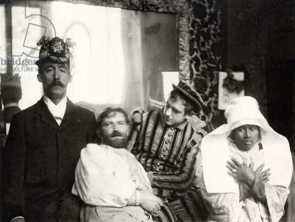 Mucha with his friends in the studio, Rue de la Grande Chaumière, Paris (b/w photo)