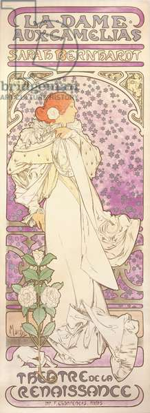 Sarah Bernhardt (1844-1923), La Dame aux Camelias, at the Theatre de la Renaissance, 1896 (colour litho)