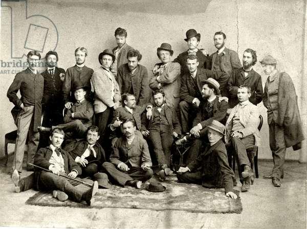 Students at the Munich Academy, 1886 (b/w photo)