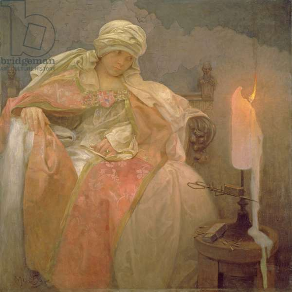 Woman watching a candle burning, 1933 (oil on canvas)