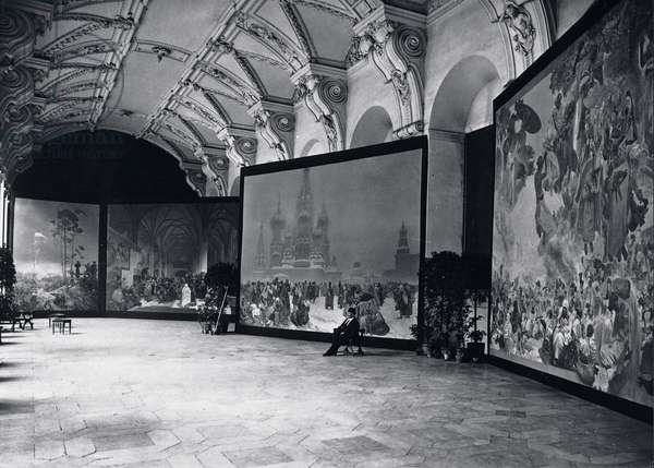 Mucha with the Slav Epic canvases exhibited in the the Klementinum, Prague, 1919(b/w photo)