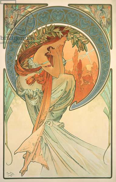 The Arts: Poetry, 1898 (colour litho)
