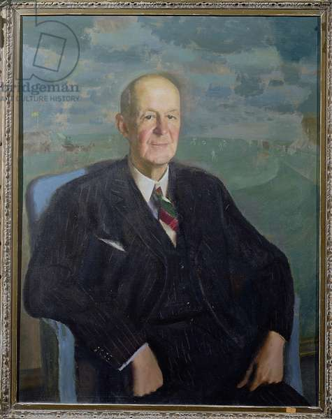 Portrait of Sir Pelham Francis Warner (1873-1963) Captain of England and Middlesex, President of the Marylebone Cricket Club in 1950, 1945 (oil on canvas)
