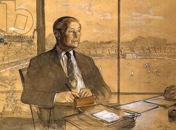 Portrait of Stewart Cathie Griffiths (b.1914), 1975 (crayon & wash on paper)