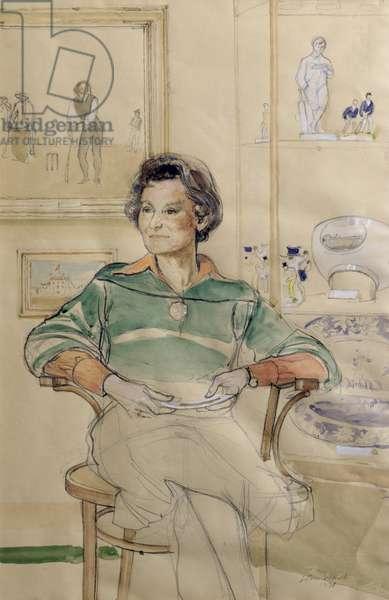 Portrait of Diana Rait Kerr, First Curator of the Marylebone Cricket Club 1945-68, 1978 (w/c & pencil on paper)