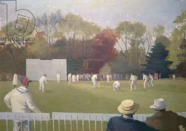 Cricket in the Parks, Oxford, 1953 (oil on canvas)