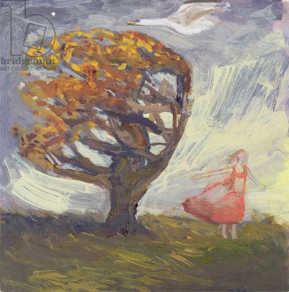 Girl Enjoying First Autumn Gale (oil on board)
