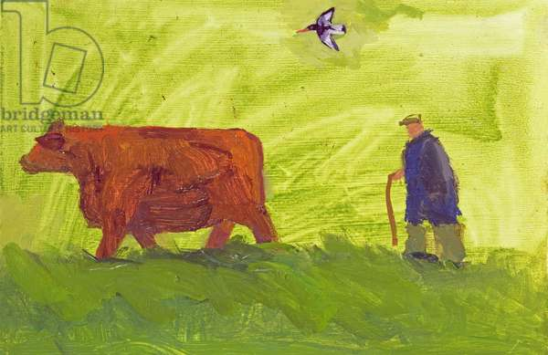 Guiding Cow to Spring Pasture, Orkney (oil on board)