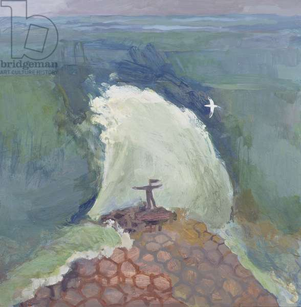 Girl and Crashing Wave, Giant's Causeway, October 1997 (oil on board)