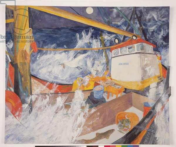 Full Steam to Port St. Mary: Full Moon (oil on card)