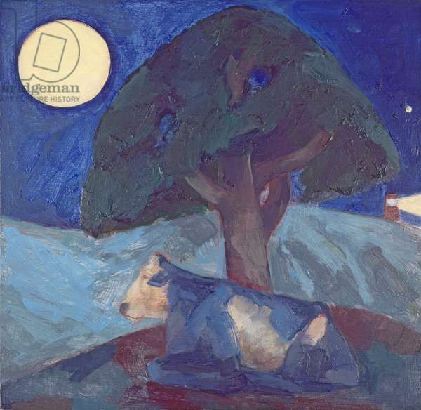 May Full Moon, a Blue Cow Chews her Cud (oil on board)