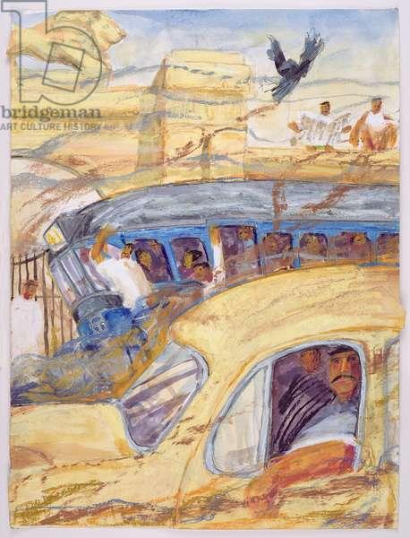 Traffic Snarl Outside Raj Bhavan (oil on card)