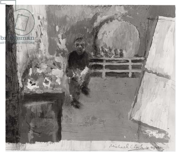 Francis Bacon in his studio (gouache on paper)