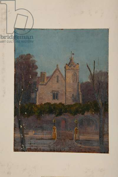 Grammar Hall (oil on canvas mounted on card)