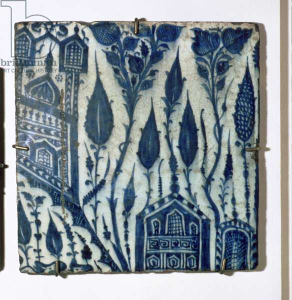 A3 Tile with stylised design of houses and flowers, Egyptian, Mamluk, 15th century (ceramic)