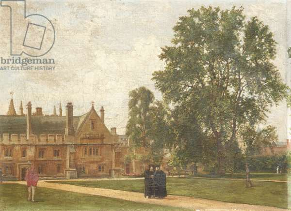 In the Grounds of Magdalen College, with Portraits of Magdalen Fellows: Reverend T. H. T. Hopkins, Reverend H. R. Bramley, Reverend J. Rigaud and Reverend H. F. Garnsey, 1882 (oil on canvas)