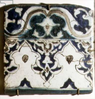 A4 Tile with blue and white border designs, Syrian, 18th century (ceramic)