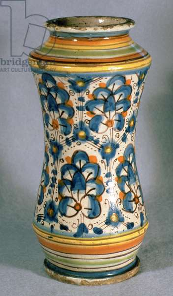 Albarello jar, with decoration of stylised floral pattern, Italian, from Florence, 15th century (ceramic)