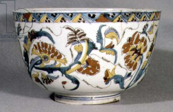 Bowl decorated with five spheroidal incised panels with feather pattern, from Kutahya, Armenia, 1700-1750 (ceramic)