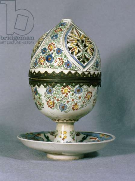 F1 Perfume burner with perforated lid, decorated with stylised flower bouquets, the saucer with serrated leaf design, mid 18th century (ceramic)