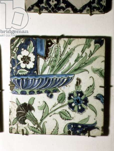 A8 Tile with blue and white design with stylised flowers, Syrian, 17th century (ceramic)
