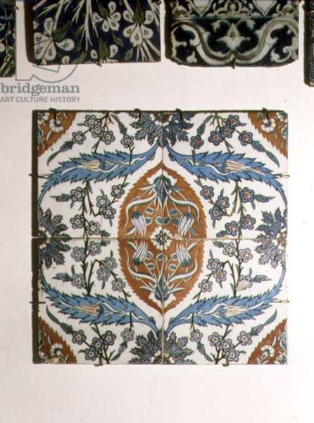 A9 Tile panel of stylised blue, red and white flowers, Syrian, 17th century (ceramic)